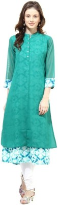 La Firangi Printed Women's Flared Kurta(Green) at flipkart