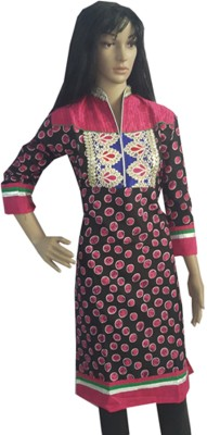 Rajasthali Geometric Print, Embroidered Women,s Straight Kurta