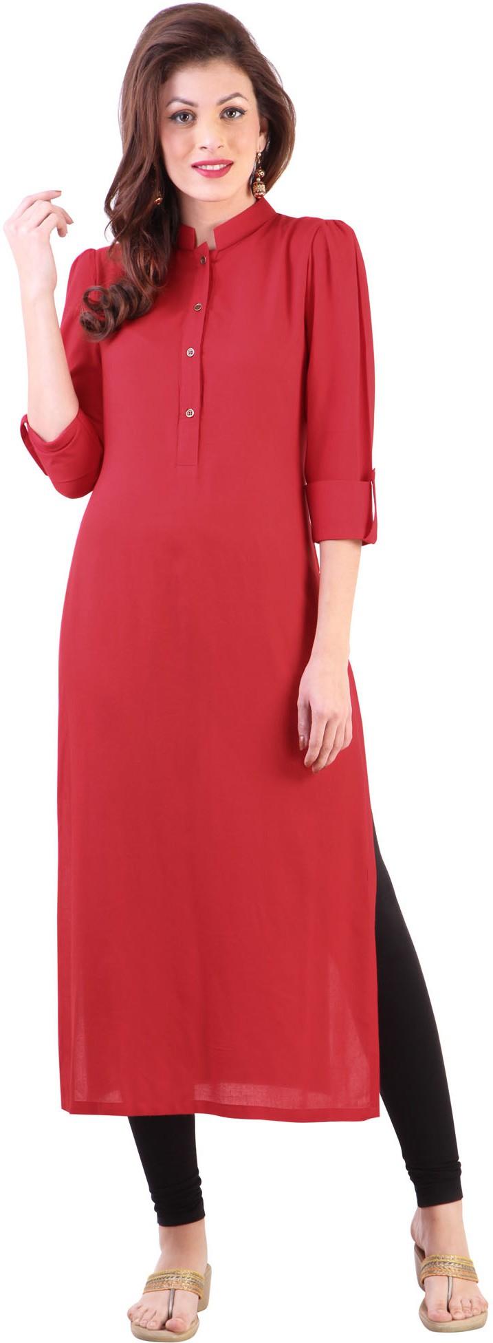 Libas Self Design Womens Straight Kurta(Red)