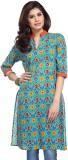 Enah Printed Women's A-line Kurta (Blue)