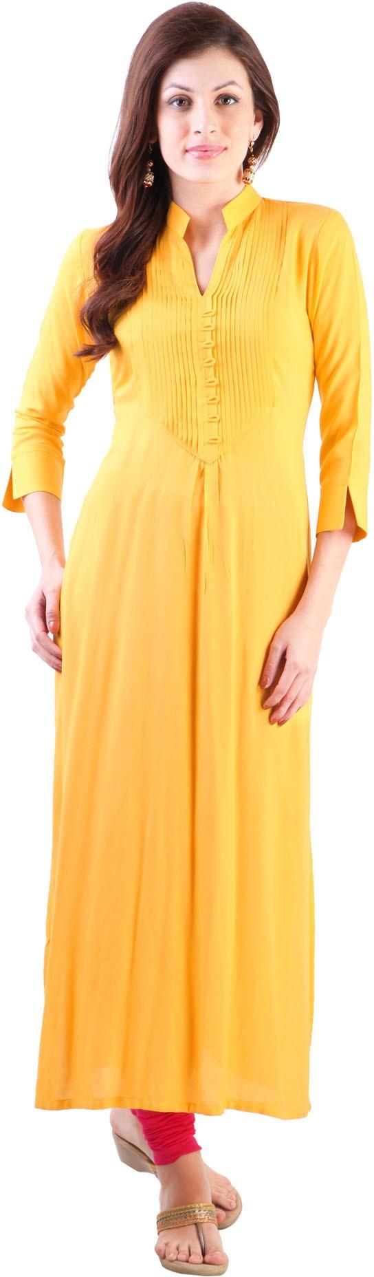 Libas Self Design Womens Straight Kurta(Yellow)
