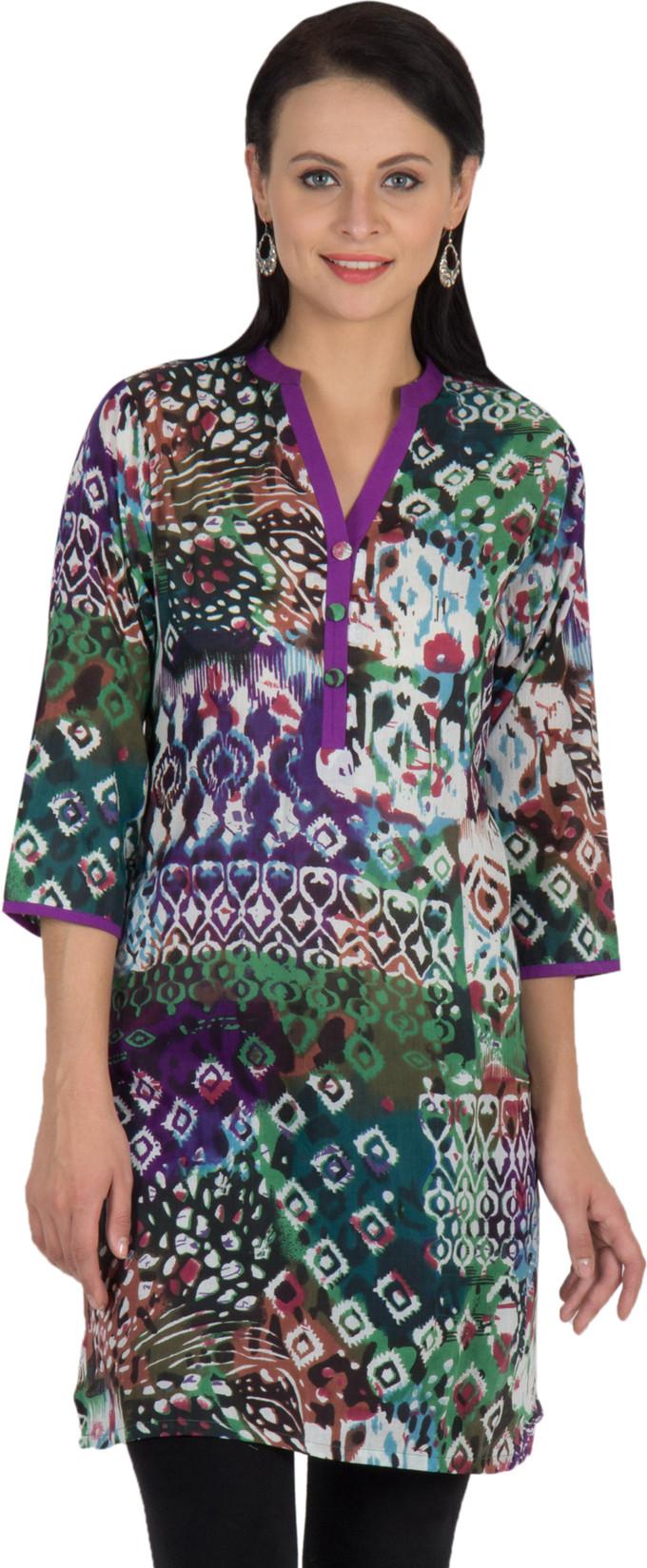 Sohniye Graphic Print Womens Straight Kurta(Purple, Green)