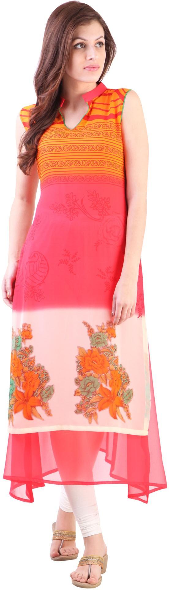 Libas Printed Womens A-line Kurta(Pink)