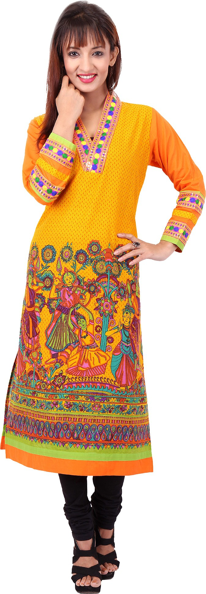Pregan Printed Womens Straight Kurta(Orange)