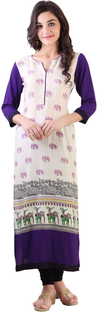 Libas Printed Womens Straight Kurta(White, Purple)