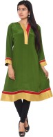 Belle Solid Women's Anarkali Kurta(Green, Yellow)
