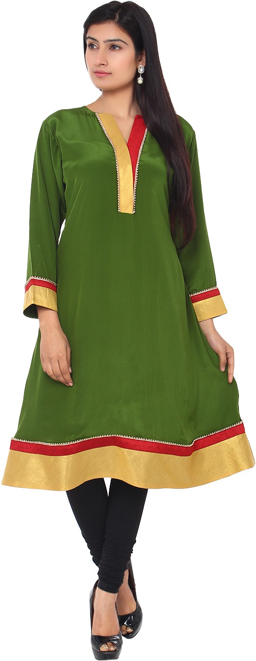 Belle Solid Womens Anarkali Kurta(Green, Yellow)