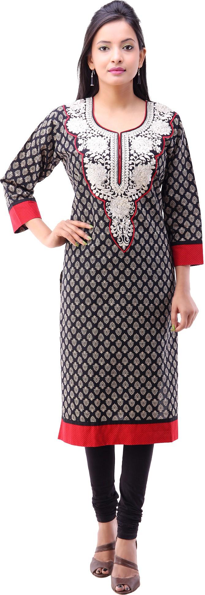 Pari Printed Womens Straight Kurta(Black)