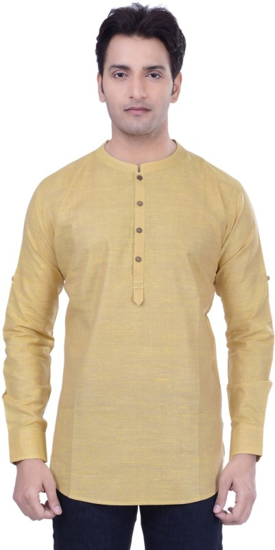 Rene Solid Men's Straight Kurta(Yellow)