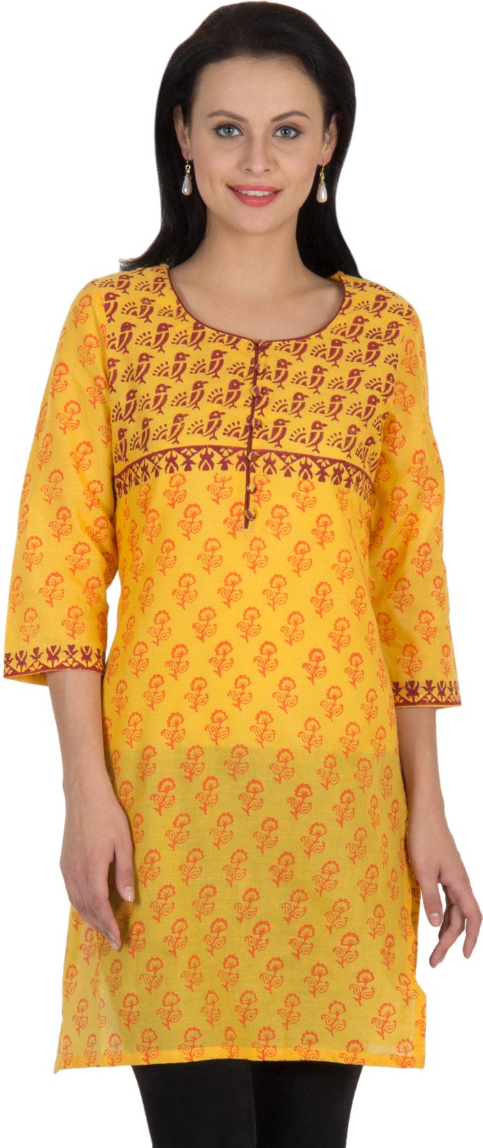 Sohniye Graphic Print Womens Straight Kurta(Yellow)
