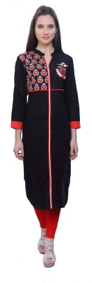 Kurtis By Menika Embroidered Women's Straight Kurta(Red, Black)