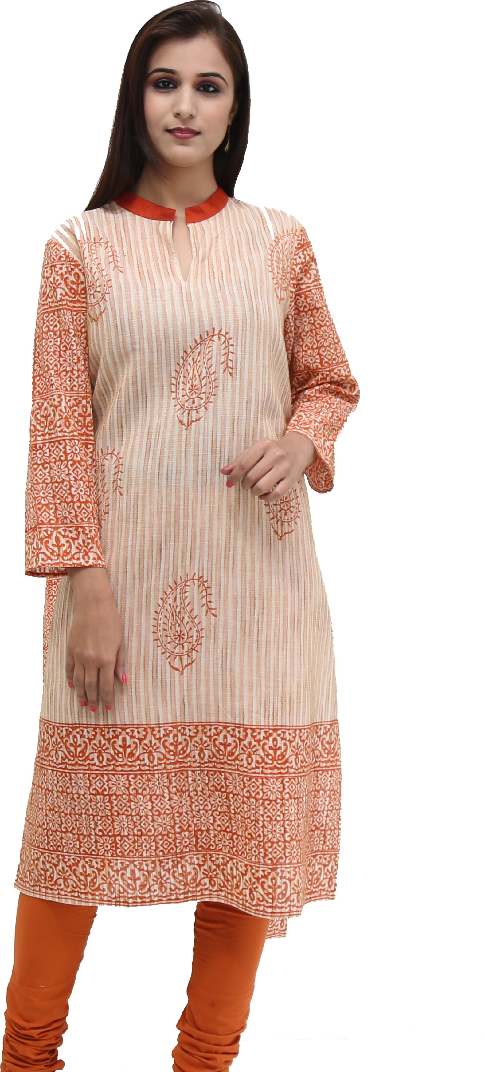 Missprint Printed Womens Straight Kurta(White, Orange)