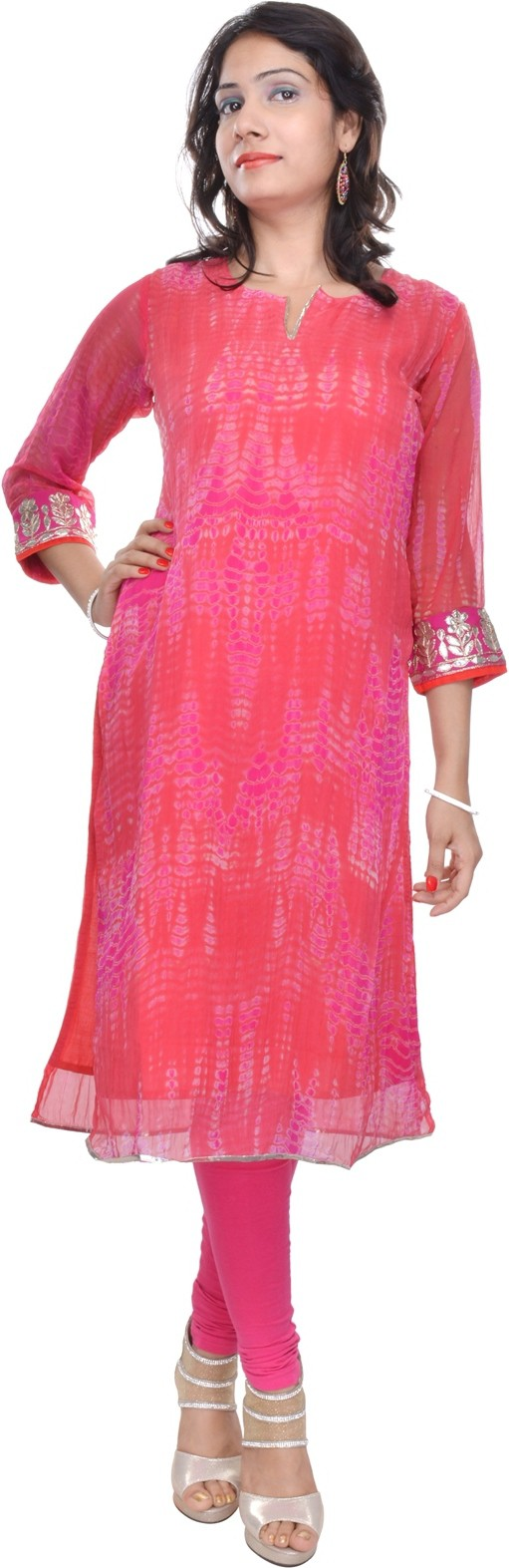 Naksh Jaipur Printed Womens Straight Kurta(Red)