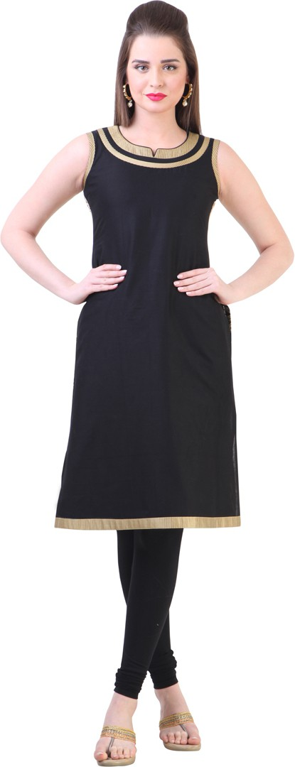 Libas Self Design Womens Straight Kurta(Black)