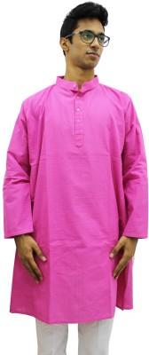 Rasi Silks Solid Mens Straight Kurta(Pink)