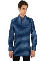 EdenElliot Checkered Mens Straight Kurta(Blue)