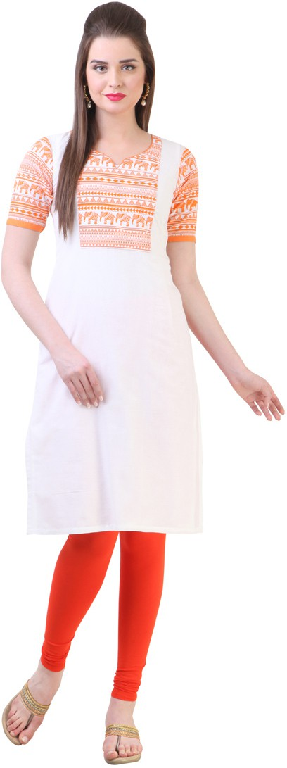 Libas Printed Womens Straight Kurta(White)