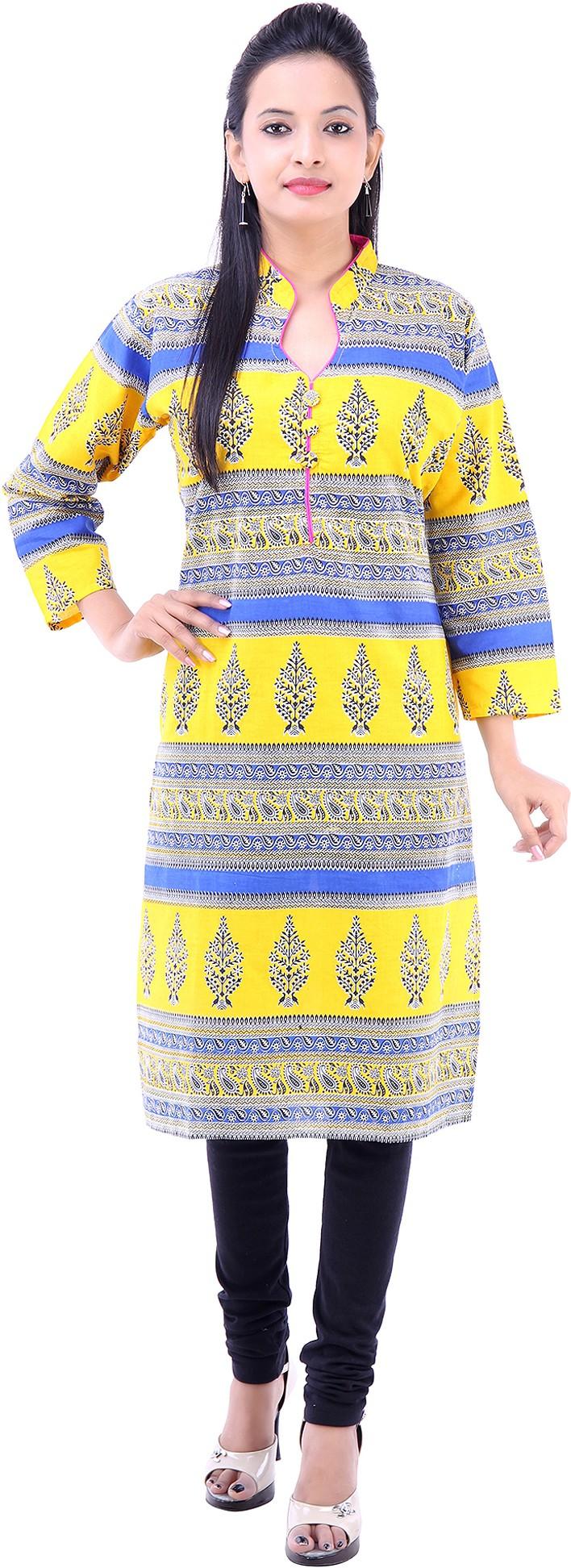 Abhinandan Crafts Printed Womens Straight Kurta(Yellow)