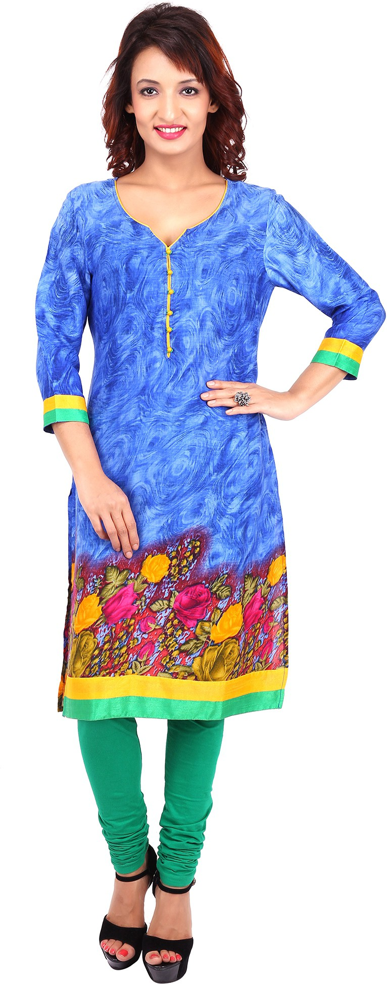 Urban Flairs Floral Print Womens Straight Kurta(Blue)