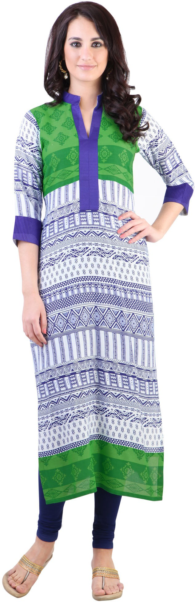 Libas Printed Womens Straight Kurta(White, Blue)