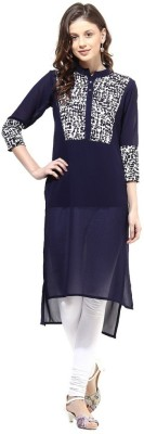 La Firangi Printed Women's Flared Kurta(Dark Blue) at flipkart