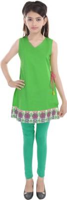 Cotton On Kids Solid Girls A-line Kurta(Green)