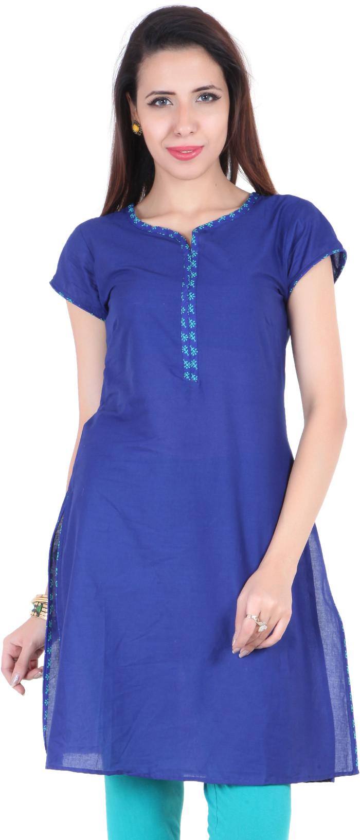 Namakh Solid Womens Straight Kurta(Blue)