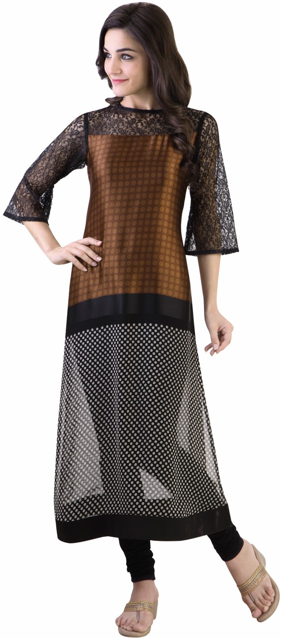 Libas Polka Print Womens Straight Kurta(Brown, Black)
