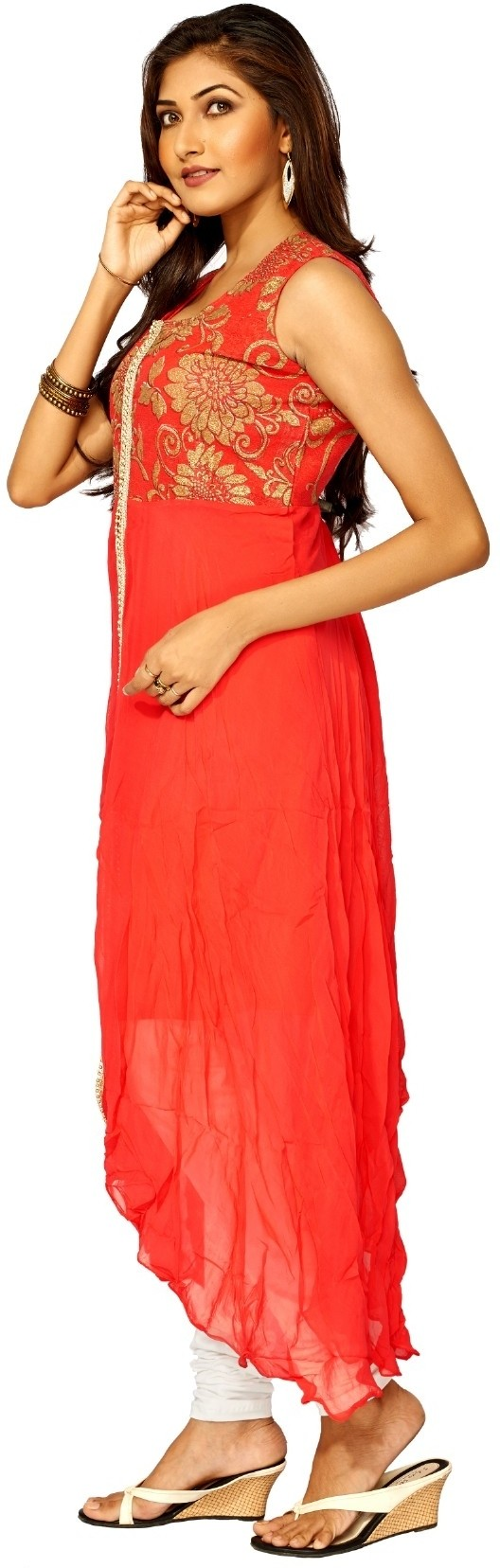 Sangeet Fashion Floral Print Womens Straight Kurta(Red, White)