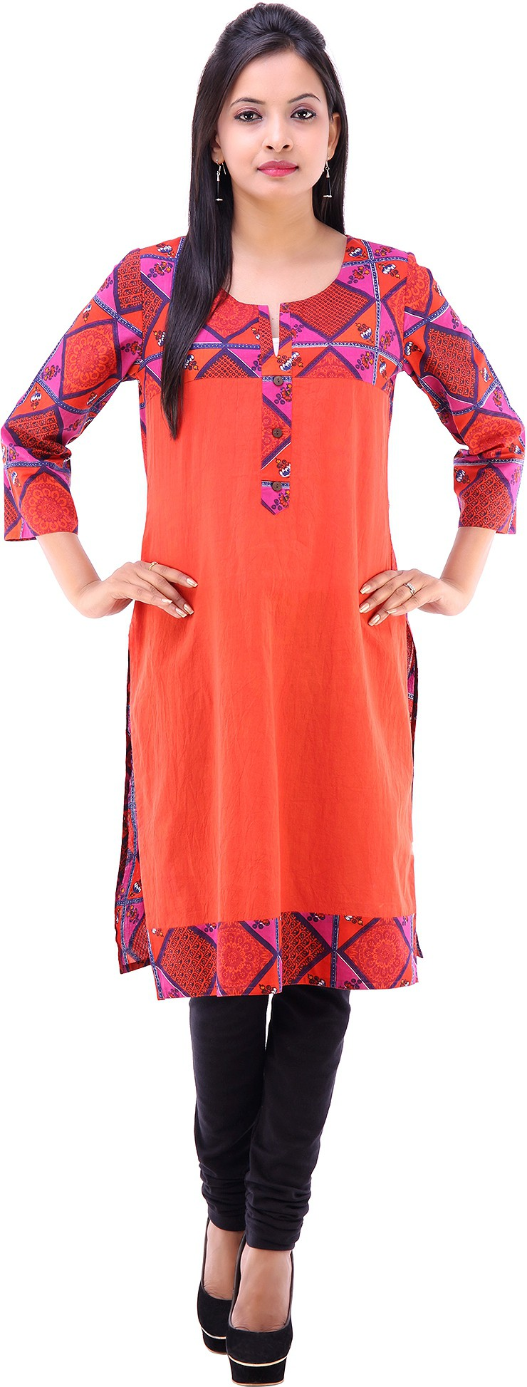 Goodwill Impex Printed Womens Straight Kurta(Orange)