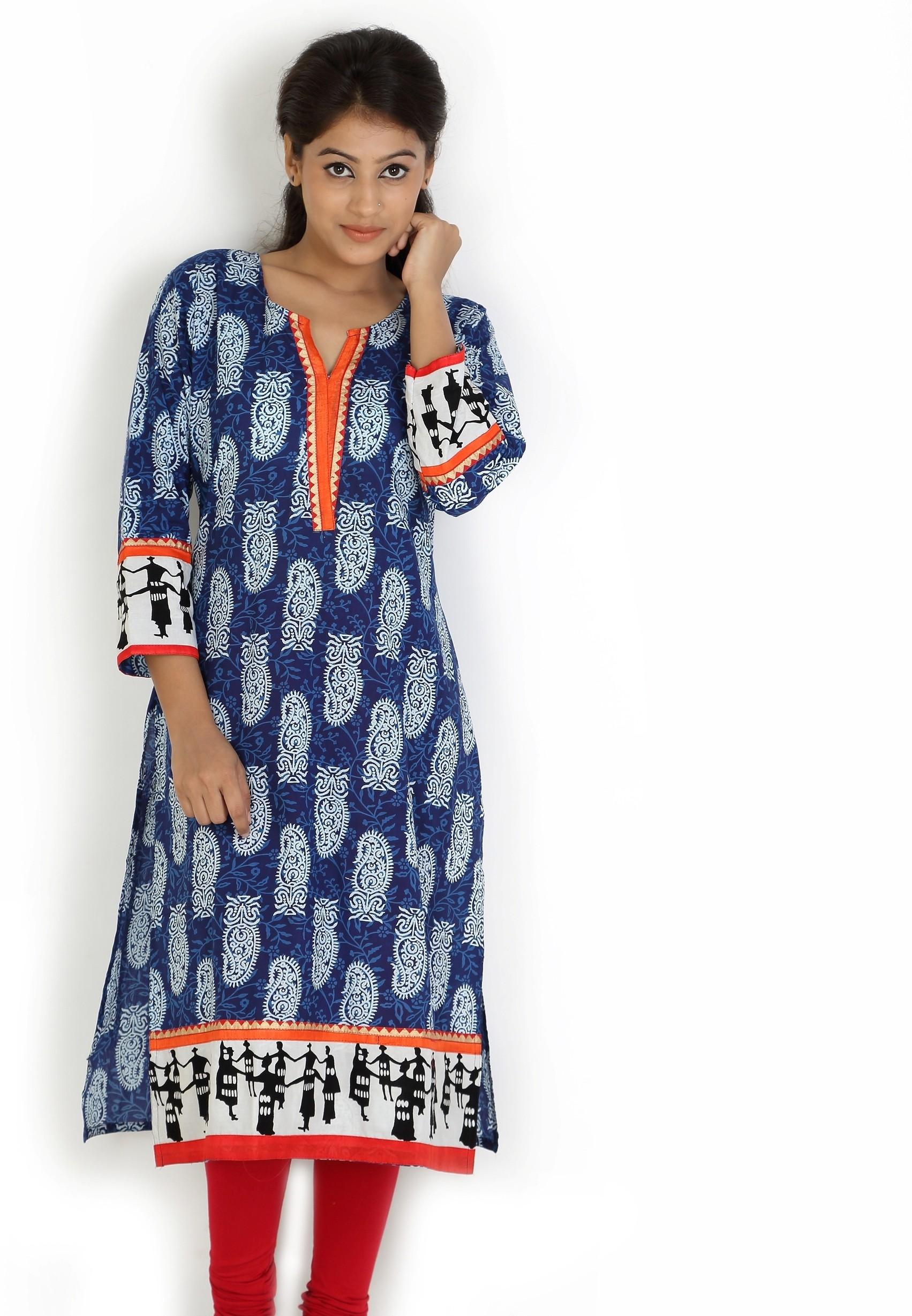 Angel TF Creations Printed Womens A-line Kurta(Dark Blue, Orange)