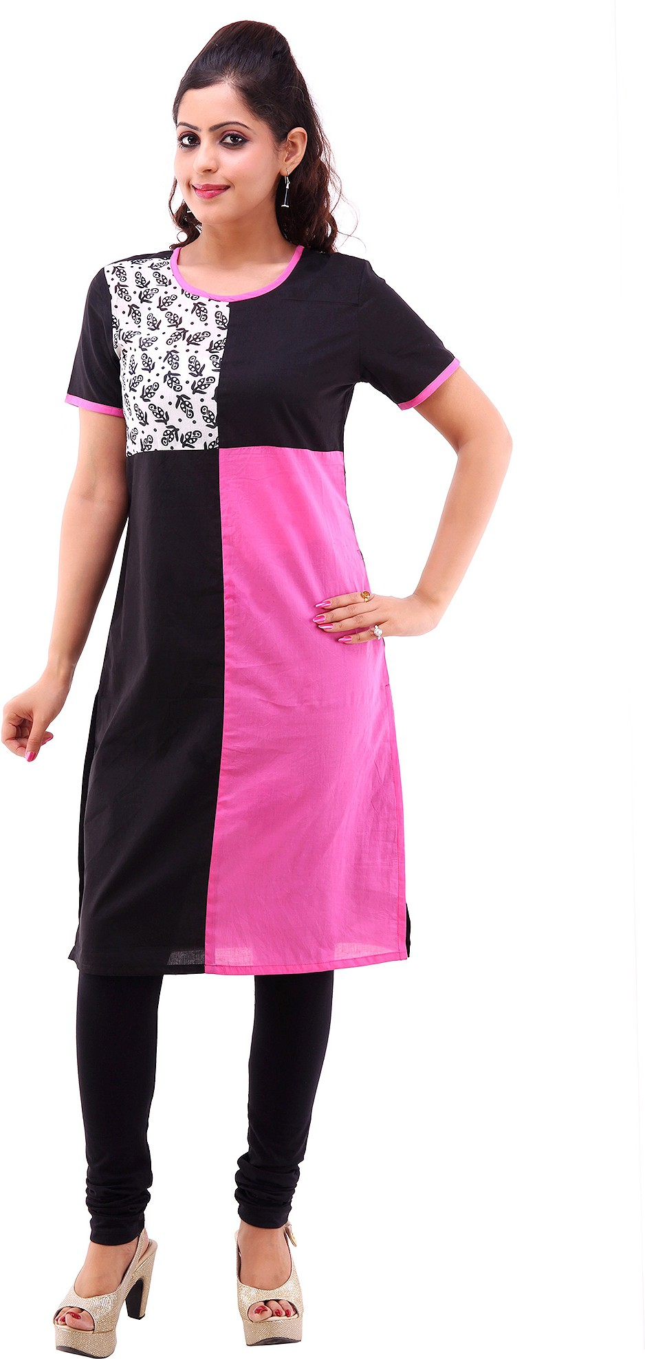 Shubh Printed Womens Straight Kurta(Black)