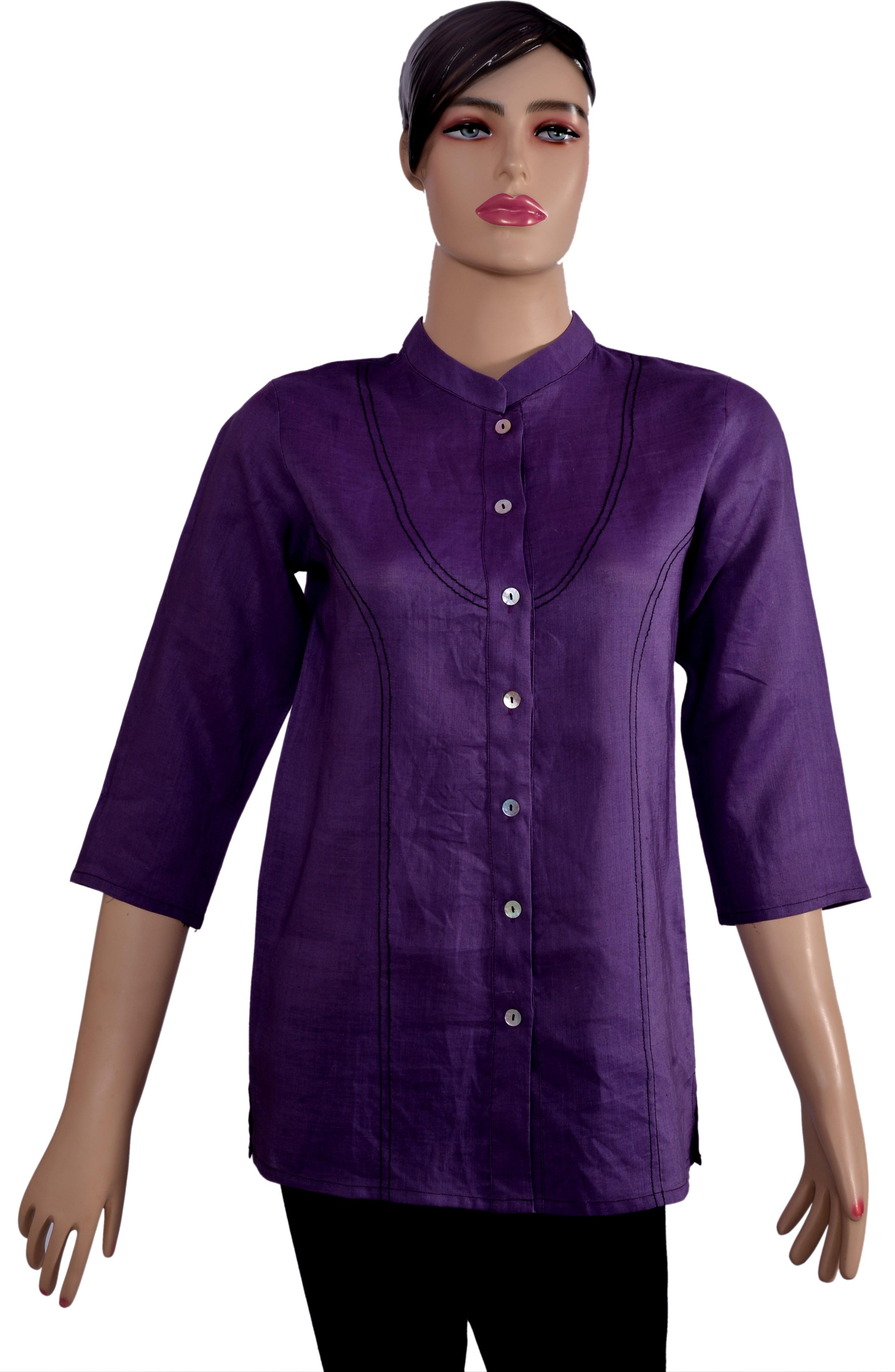 Kumi Solid Womens Straight Kurta(Purple)
