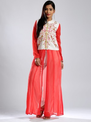 Anouk Embroidered Women's Anarkali Kurta(Orange) at flipkart