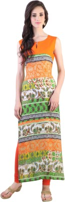 Libas Printed Women's Straight Kurta(Orange, Green) at flipkart