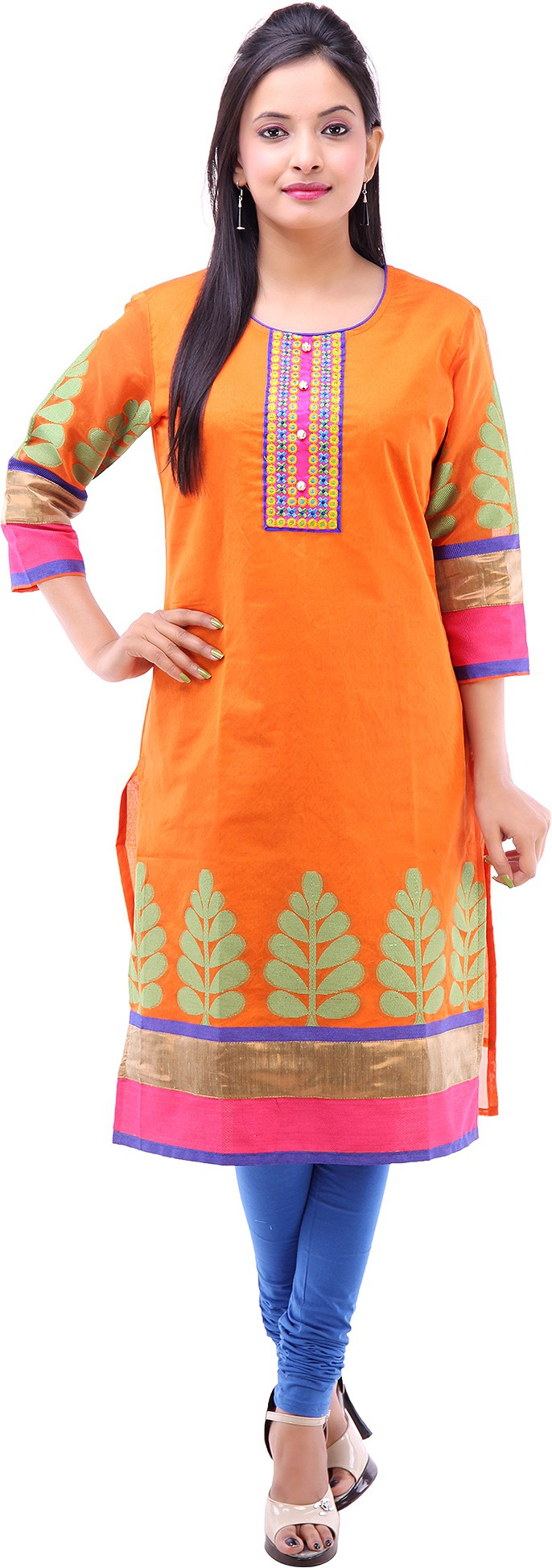 Kyaara Printed Womens Straight Kurta(Orange)