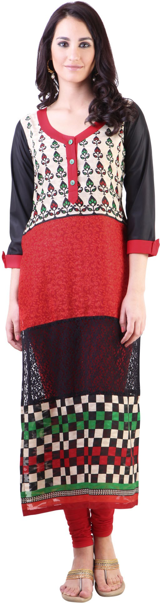 Libas Printed Womens Straight Kurta(Black, Maroon)