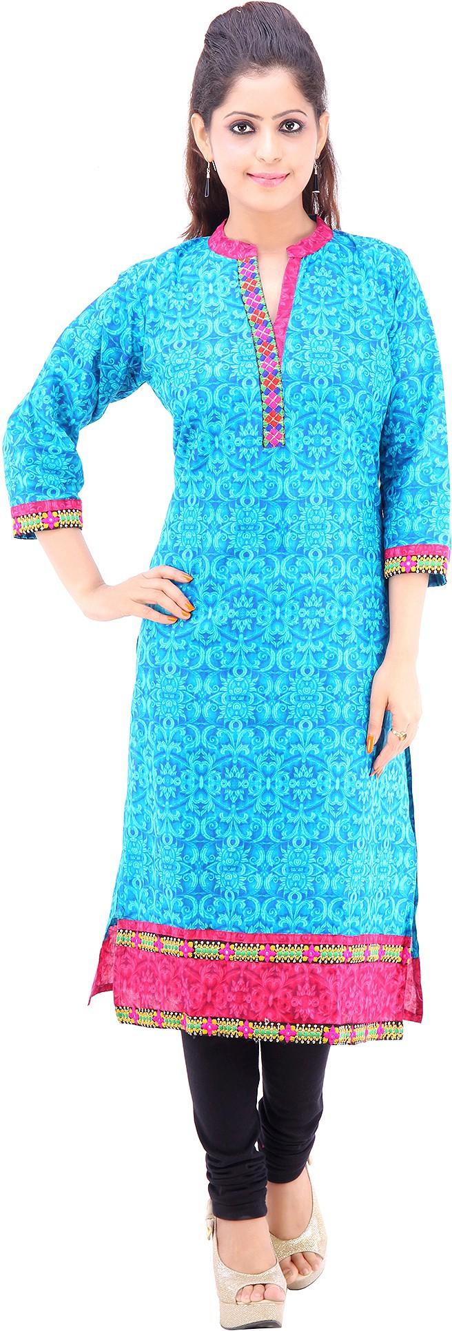 Vastra Design Printed Womens Straight Kurta(Blue)