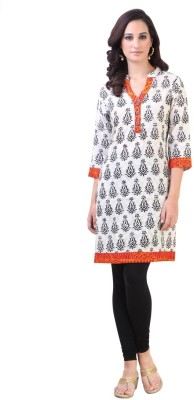 Libas Printed Women's Straight Kurta(White, Black) at flipkart