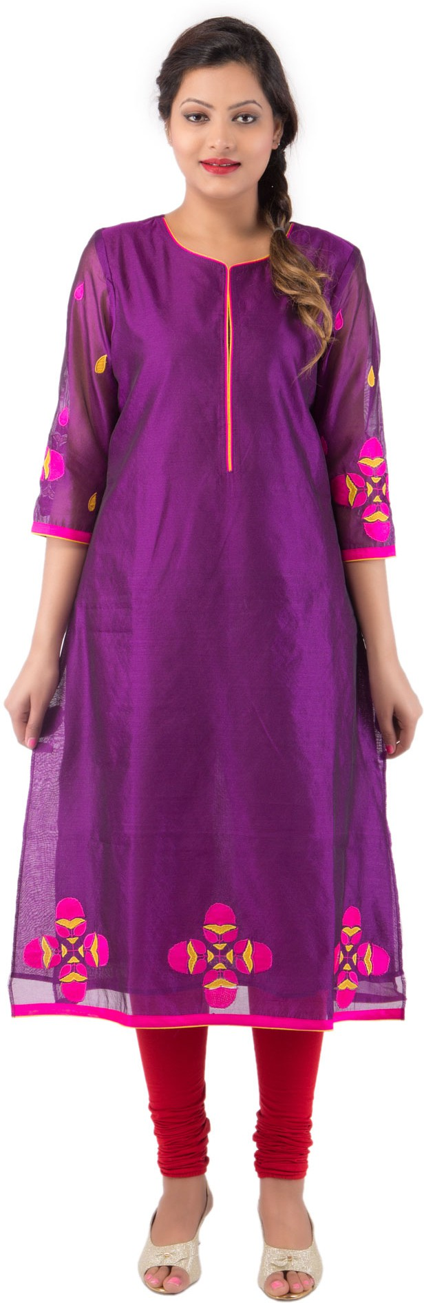 Future Perfect Solid, Self Design Womens Straight Kurta(Purple)