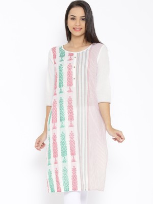 Aurelia Embroidered Women's Straight Kurta(White) at flipkart