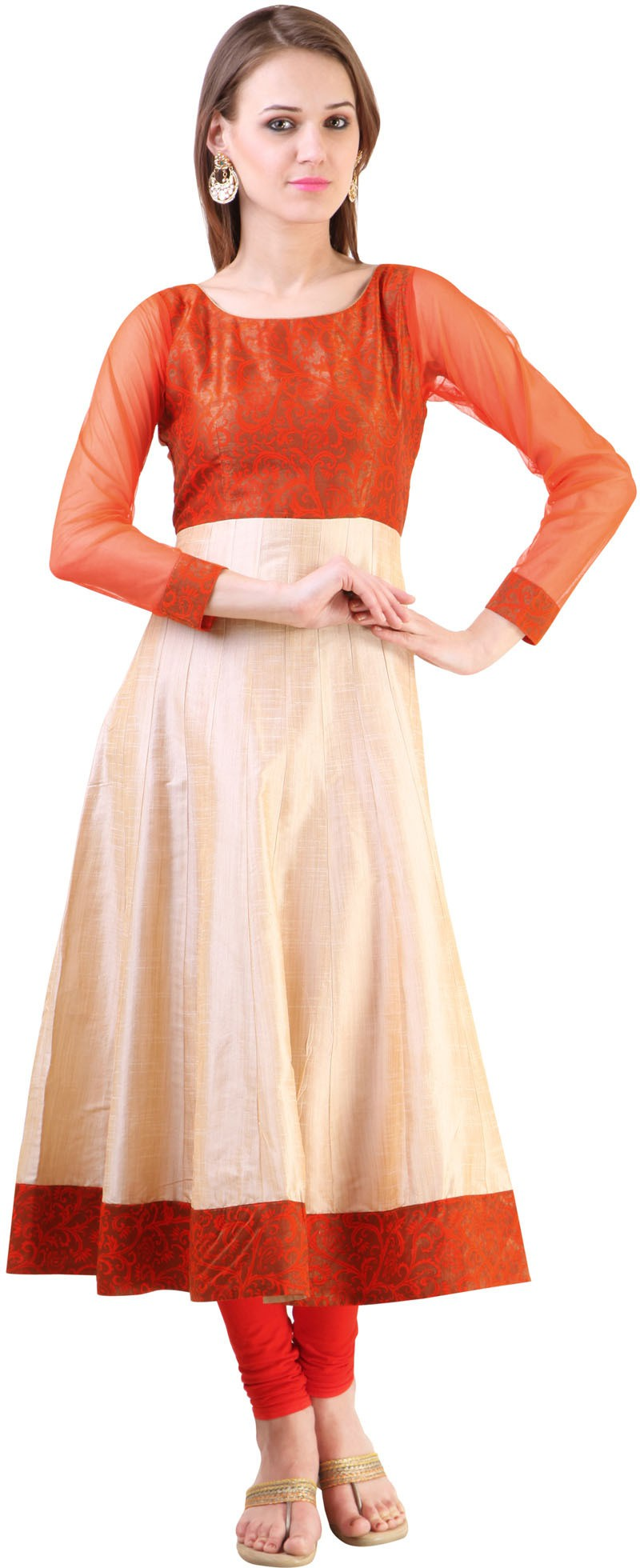 Libas Self Design Womens Anarkali Kurta(Beige, Orange)
