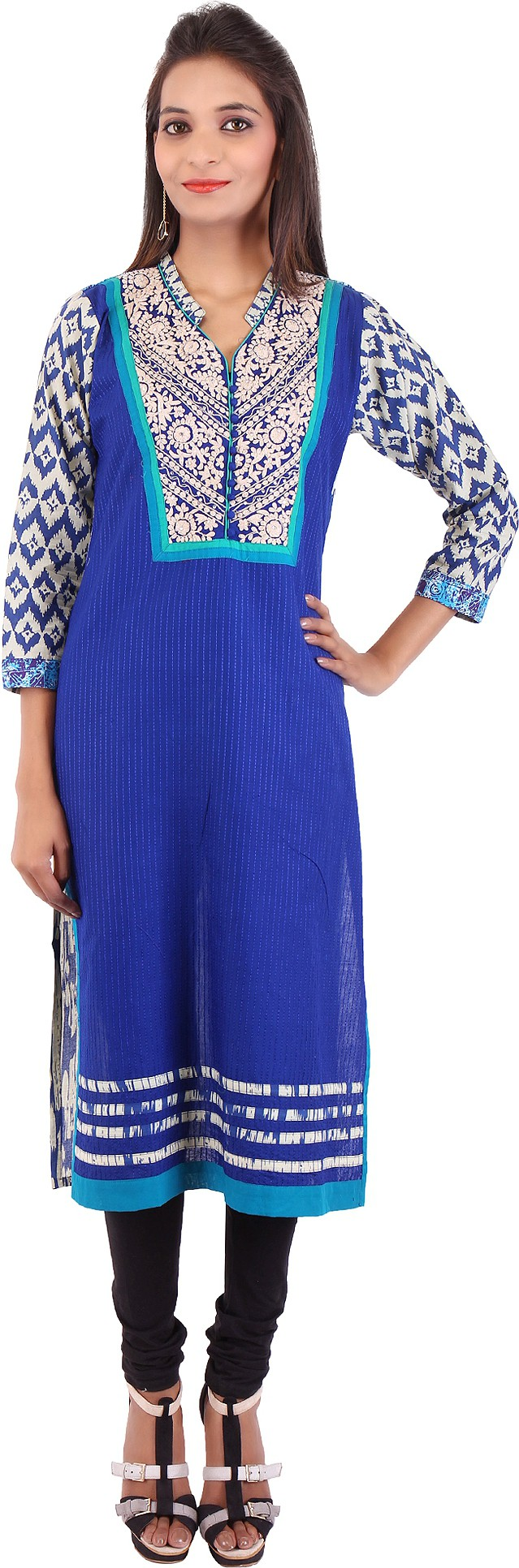 Pregan Printed Womens Straight Kurta(Blue)