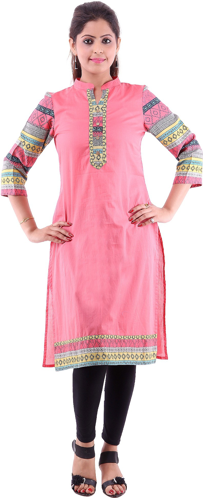 Goodwill Impex Printed Womens A-line Kurta(Pink)