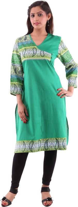 Goodwill Impex Printed Women's A-line Kurta(Green)
