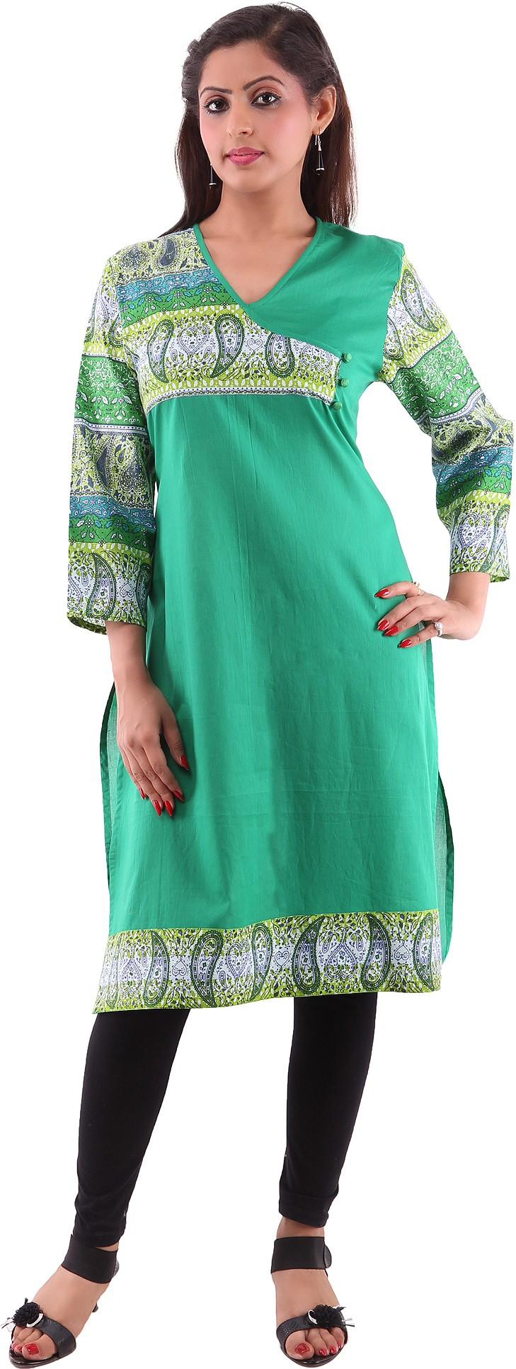 Goodwill Impex Printed Womens A-line Kurta(Green)