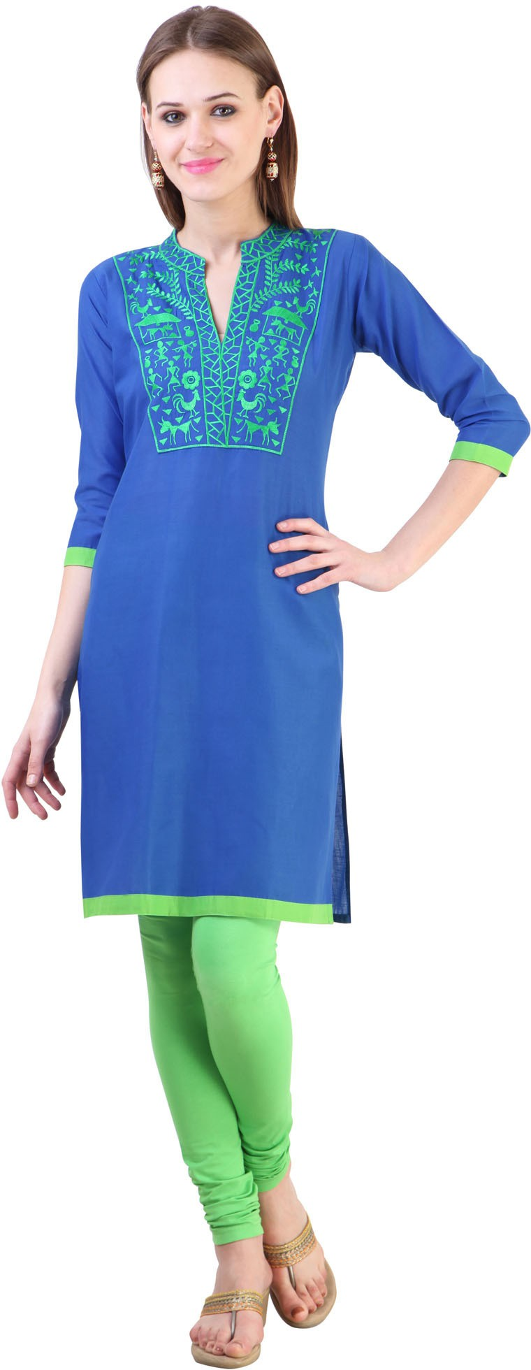 Libas Embroidered Womens Straight Kurta(Blue)