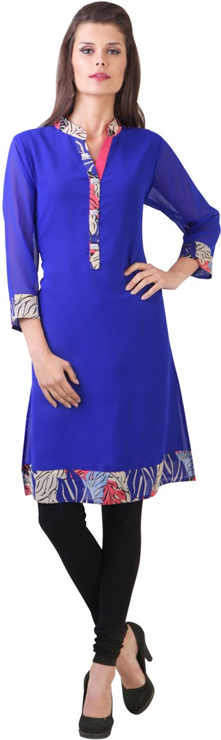 Libas Printed Womens Straight Kurta(Blue)