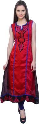 Kurtis By Menika Embroidered Women's Anarkali Kurta(Red, Blue)