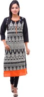 Kyaara Printed Women's Straight Kurta(Black, Orange)